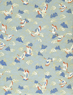 193-414C Yuzen Chiyogami--White cranes with blue accents on a white and blue background