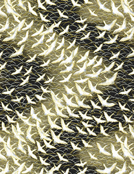 123-41C Yuzen Chiyogami--White cranes with gold accents on a gold and black background