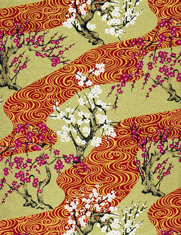 432C Yuzen Chiyogami--branches of white and magenta cherry blossoms on gold and red background