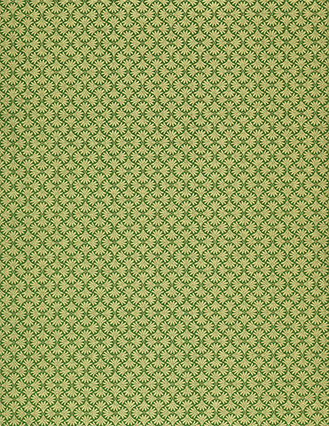 284-442C Yuzen Chiyogami--gold filigree on green background