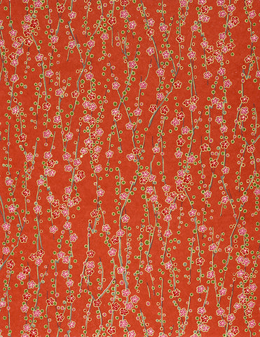 192-445C Yuzen Chiyogami--pink and red plum blossoms on branches with coral/red background