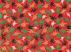 5037 Yuzen Chiyogami--cranes on red background