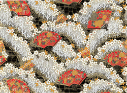 5228 Yusenshi--white flowers with red fans on gold and black background