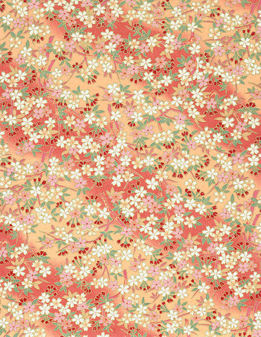 566C Yuzen Chiyogami--white, pink, and red flowers on peach background