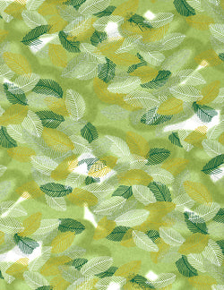 600C Yuzen Chiyogami--green and white leaf patterns on green background