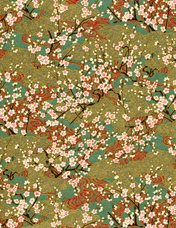 697-692C Yuzen Chiyogami--branches of white plum blossoms on gold and green background