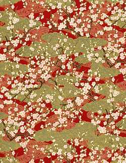 697C Yuzen Chiyogami--branches of white plum blossoms on gold and red background
