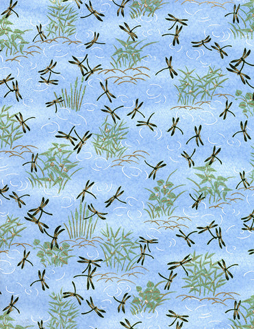 703C Yuzen Chiyogami--gold and green dragonflies on blue background