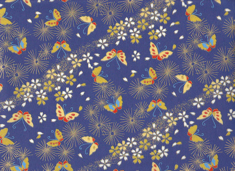 7116 Yusenshi Chiyogami--butterflies on aizome blue