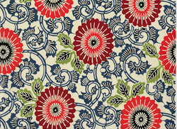 7210 Yuzen Chiyogami--bold circular floral; orange, red, blue, and brown print