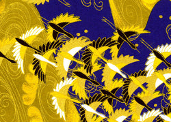7272 Yuzen Chiyogami--cranes on a gold and blue background