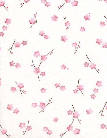 732-733C Yuzen Chiyogami--branches of pink plum blossoms on a white background
