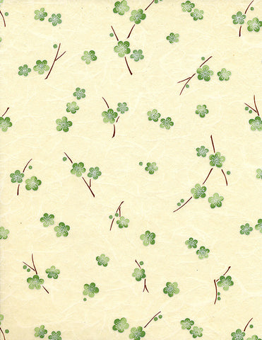 732-734C Yuzen Chiyogami--branches of green plum blossoms on a cream background