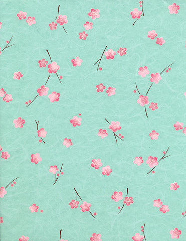 732-735C Yuzen Chiyogami--branches of pink plum blossoms on a blue background