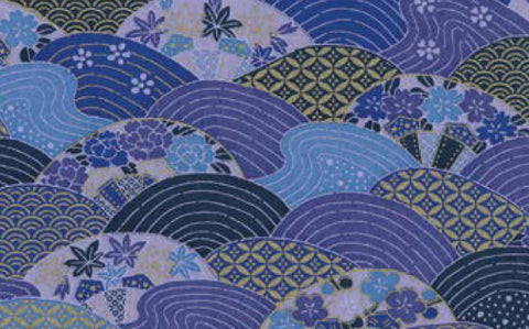 7385 Yuzen Chiyogami--indigo aizome paper with a decorative wave/circle pattern