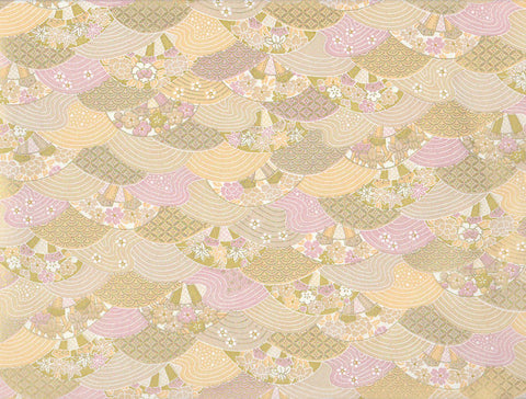 7388 Yusenshi Chiyogami--gold and pastel paper with a decorative wave/circle pattern
