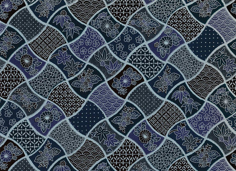 7401Yuzen Chiyogami--quilt pattern in aizome blue, violet, and black
