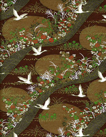 754C Yuzen Chiyogami--White cranes with gold accents on a green and rich brown background