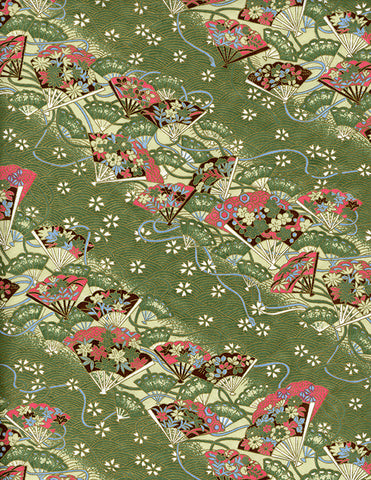756C Yuzen Chiyogami--Pink, blue and rich brown fans on a background of blue, green and cream