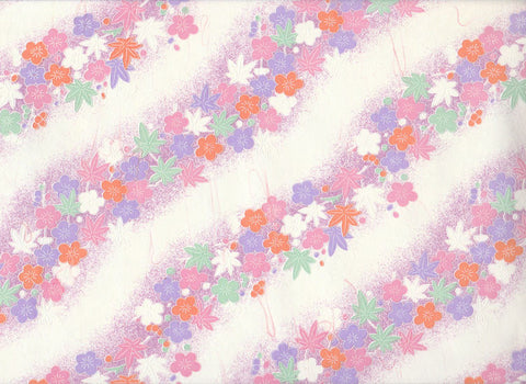 7601 Yuzen Chiyogami--pastel cherry blossoms and leaves with white background