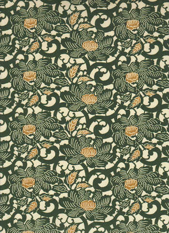 769C Yuzen Chiyogami--Green and gold flower motifs on a cream background.
