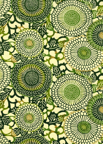 771C Yuzen Chiyogami--Green and dark green circular motifs on a cream background.