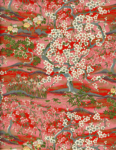 776C Yuzen Chiyogami--trees of white and pink cherry blossoms on red background