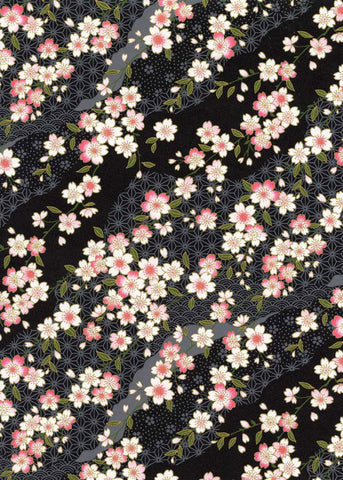 796C Yuzen Chiyogami-- Pink and white plum blossoms on black background.