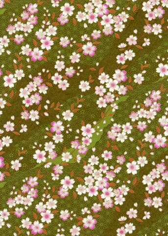 796-798C Yuzen Chiyogami-- Pink and white plum blossoms on green background.