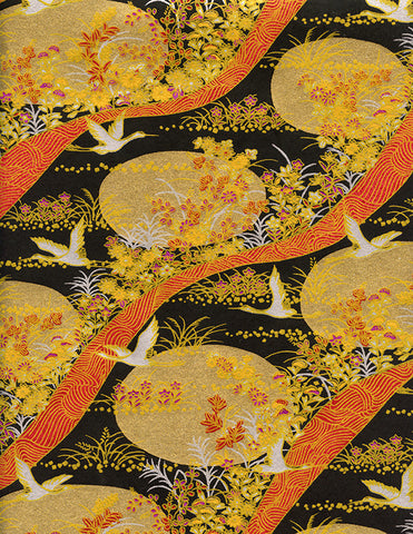 804C Yuzen Chiyogami--cranes on gold, black, and brick background