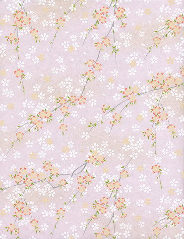 809C Yuzen Chiyogami--branches of white and pink cherry blossoms on pink background
