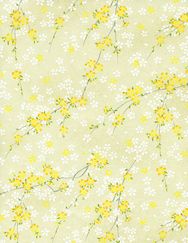 809-810C Yuzen Chiyogami--branches of white and yellow cherry blossoms on yellow background