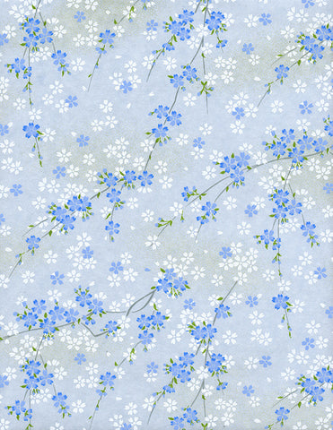809-811C Yuzen Chiyogami--branches of white and blue cherry blossoms on blue background