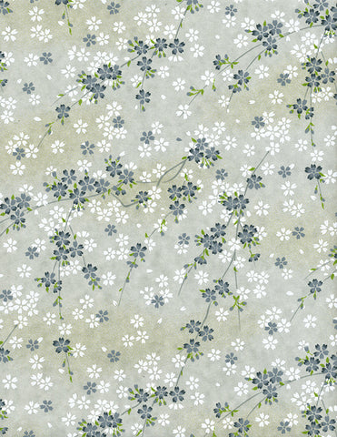 809-812C Yuzen Chiyogami--branches of white and grey cherry blossoms on grey background