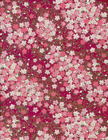 824C Yuzen Chiyogami--white and pink cherry blossoms on bright purple background