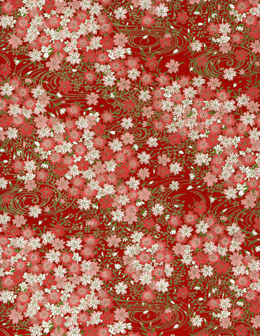 824-826C Yuzen Chiyogami--white and pink cherry blossoms on deep red background