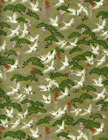 828C Yuzen Chiyogami--white cranes with wisteria on gold and green background