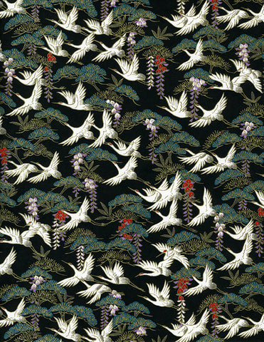 828-829C Yuzen Chiyogami--white cranes with wisteria on black and green background