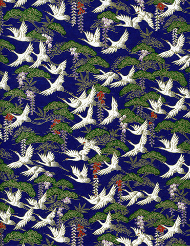 828-830C Yuzen Chiyogami--white cranes with wisteria on deep blue and green background