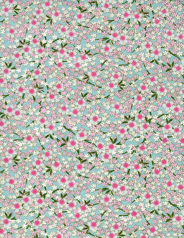840C Yuzen Chiyogami--pink and white cherry blossoms on light blue background