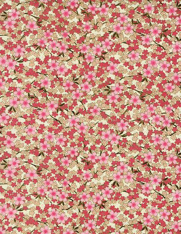 841C Yuzen Chiyogami--pink and white cherry blossoms on cream background