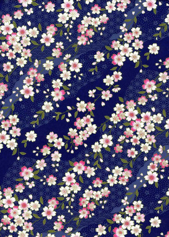 796-854C Yuzen Chiyogami-- Pink and white cherry blossoms on a dark blue background