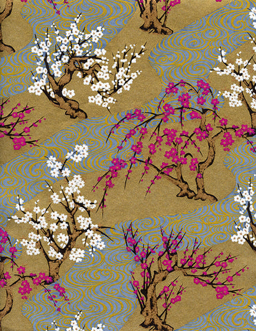 432-859C Yuzen Chiyogami--branches of white and magenta cherry blossoms on gold and blue/grey background