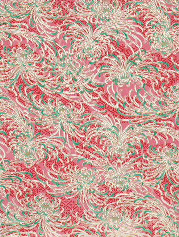 704-862C Yuzen Chiyogami-- feather-like white and green motif on red background.