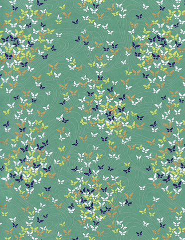 866C Yuzen Chiyogami--yellow, blue, white, and peach butterflies on celadon background with gold accents accents