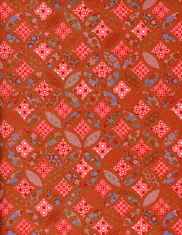 873-871C Yuzen Chiyogami--red, blue, white, and pink geometric motifs on red background