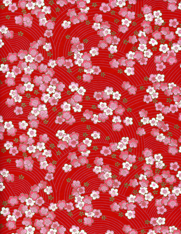 876C Yuzen Chiyogami--pink and white plum blossoms on red background