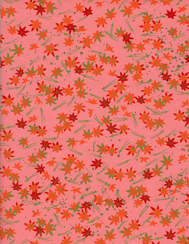 878C Yuzen Chiyogami--orange and red maple leaves on dark-pink-hued background