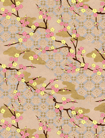 879C Yuzen Chiyogami--pink and light yellow plum blossoms on light pink, gold, and light lilac background