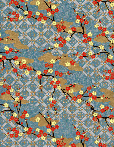 879-881C Yuzen Chiyogami--red and light yellow plum blossoms on light blue, gold, and light lilac background